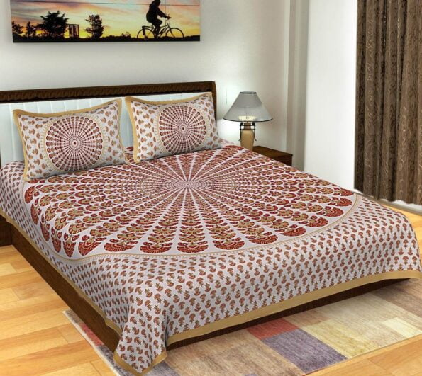 Multicolor Mandala Tapestry King Size Pure Cotton Double Bedsheet