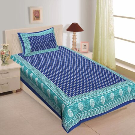 Navy Blue Color Floral Pattern Screen Print Cotton Single Bed Sheet