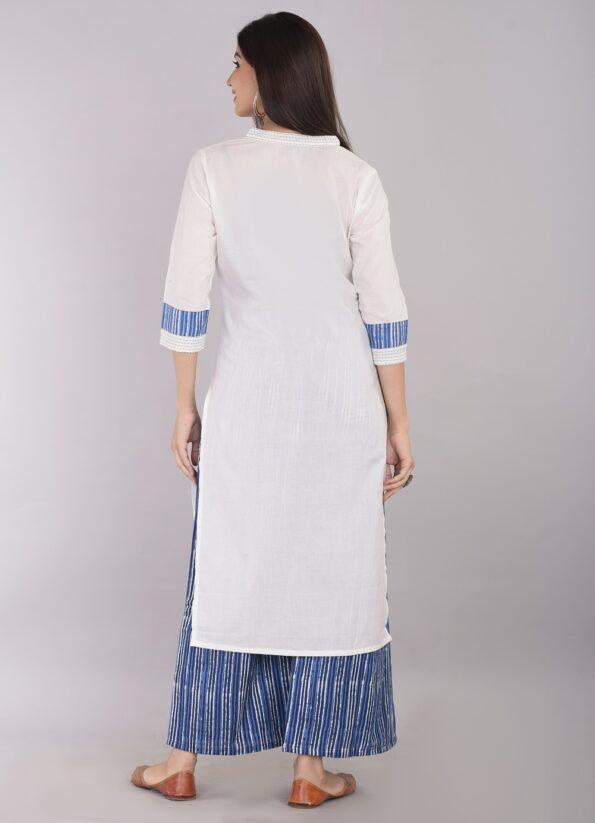 Pure Cotton Blue Lining Palazzo with White Kurti Back