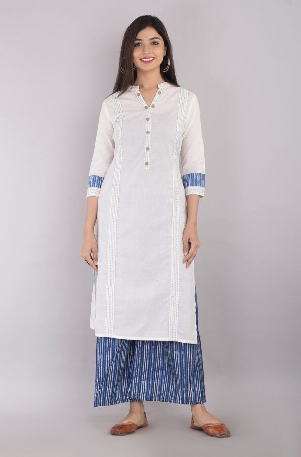 Pure Cotton Blue Lining Palazzo with White Kurti Front