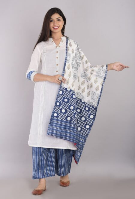 Pure Cotton Blue Lining Palazzo with White Kurti and Printed Dupatta