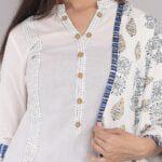 Pure Cotton Blue Lining Palazzo with White Kurti and Printed Dupatta Closeup