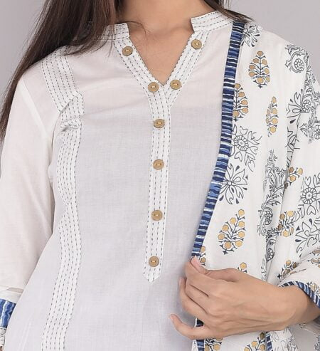 Pure Cotton Blue Lining Palazzo with White Kurti and Printed Dupatta Closeup