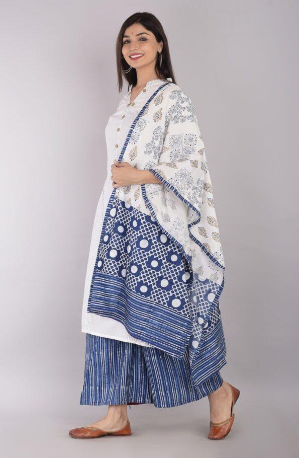 Pure Cotton Blue Lining Palazzo with White Kurti and Printed Dupatta Sidepose