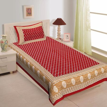 Red Border Floral Pattern Screen Print Cotton Single Bed Sheet
