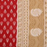 Red Border Floral Pattern Screen Print Cotton Single Bed Sheet Closeup