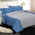 Rosee Small Multi Square Shape Blue Color Double Bed Sheet