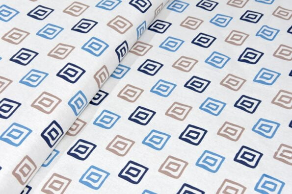 Rosee Small Multi Square Shape Blue Color Double Bed Sheet Close up