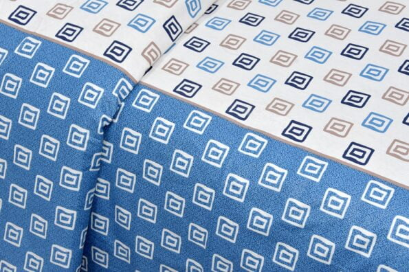 Rosee Small Multi Square Shape Blue Color Double Bed Sheet Closeup