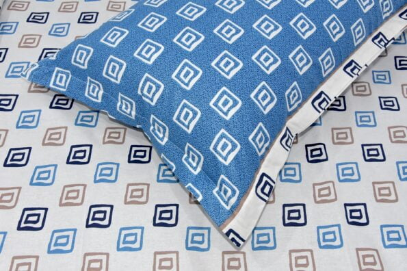 Rosee Small Multi Square Shape Blue Color Double Bed Sheet Pillow