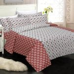 Rosee Small Multi Square Shape Red Color Double Bed Sheet