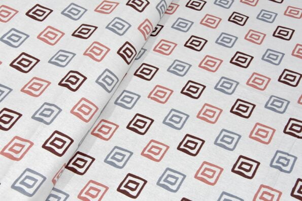 Rosee Small Multi Square Shape Red Color Double Bed Sheet Closeup (2)