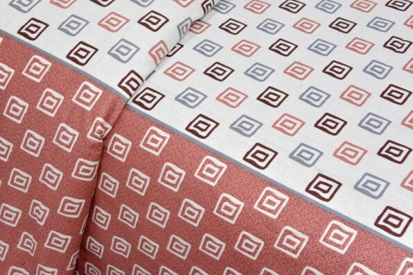 Rosee Small Multi Square Shape Red Color Double Bed Sheet Closeup