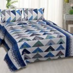 Rosee Triangle Shape Blue Color Double Bed sheet