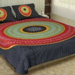 Traditional Sanganeri Bandhej Print Black Color King Size Pure Cotton Double Bedsheets