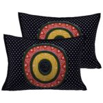 Traditional Sanganeri Bandhej Print Black Color King Size Pure Cotton Double Bedsheets Pillow