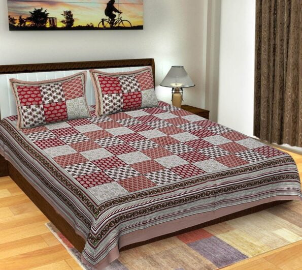 Traditional Sanganeri Block Print Brown Color King Size Pure Cotton Double Bedsheet
