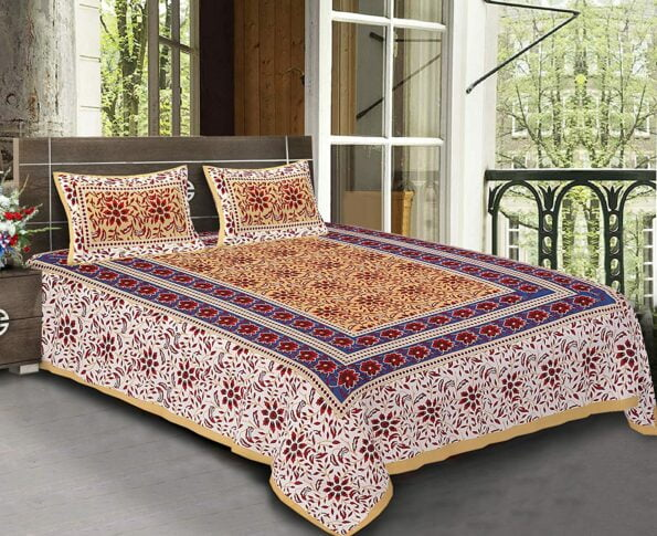 Traditional Sanganeri Block Print Floral Design MultiColor King Size Pure Cotton Double Bedsheet