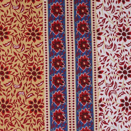 Traditional Sanganeri Block Print Floral Design MultiColor King Size Pure Cotton Double Bedsheet Closeup