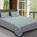 Traditional Sanganeri Block Print Geometric Shape King Size Pure Cotton Double Bedsheet