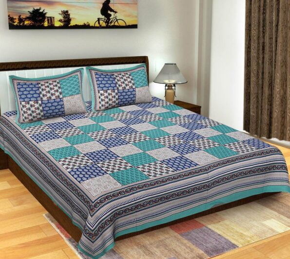 Traditional Sanganeri Block Print Green Color King Size Pure Cotton Double Bedsheet