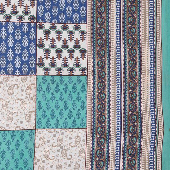 Traditional Sanganeri Block Print Green Color King Size Pure Cotton Double Bedsheet Closeup