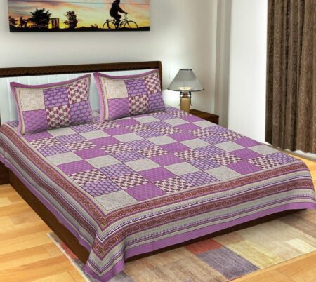 Traditional Sanganeri Block Print Violet Color King Size Pure Cotton Double Bedsheet