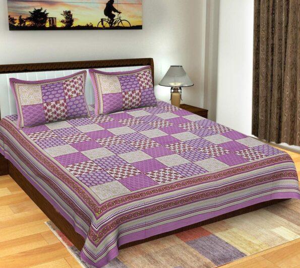 Traditional Sanganeri Block Print Violet Color King Size Pure Cotton Double Bedsheet