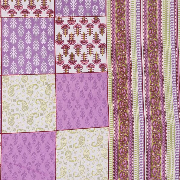 Traditional Sanganeri Block Print Violet Color King Size Pure Cotton Double Bedsheet Closeup