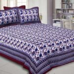 Traditional Sanganeri Block Print Violet Daffodils Flowers King Size Pure Cotton Double Bedsheet