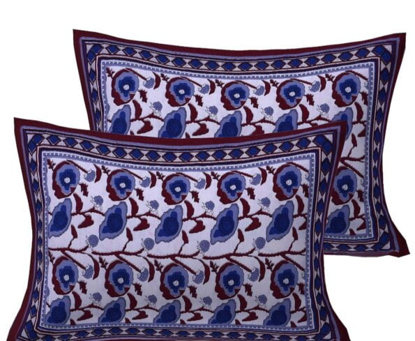Traditional Sanganeri Block Print Violet Daffodils Flowers King Size Pure Cotton Double Bedsheet Pillows
