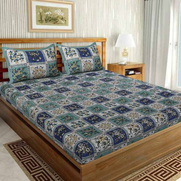Traditional Sanganeri Floral Print Blue Color Box Shape King Size Double Bed Sheet
