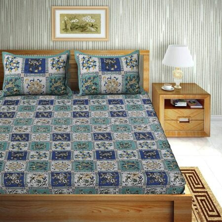Traditional Sanganeri Floral Print Blue Color Box Shape King Size Double Bed Sheets