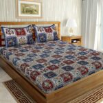 Traditional Sanganeri Floral Print MultiColor Box Shape King Size Double Bed Sheets