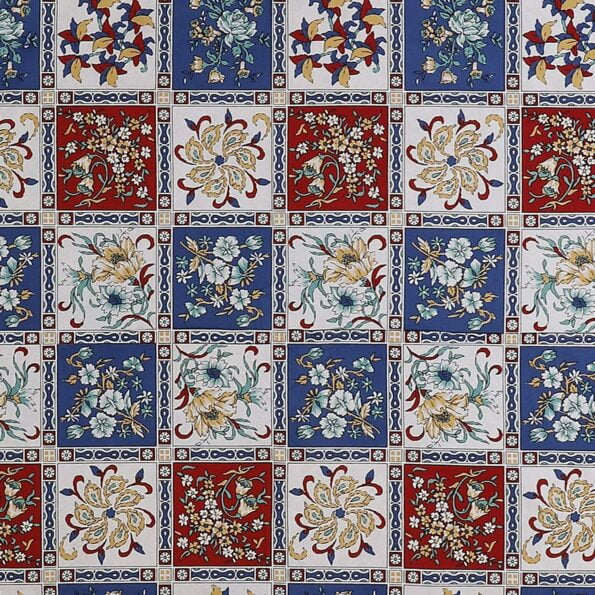 Traditional Sanganeri Floral Print MultiColor Box Shape King Size Double Bed Sheets Closeup