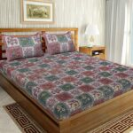 Traditional Sanganeri Floral Print Pink Color Box Shape King Size Double Bed Sheet