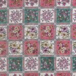 Traditional Sanganeri Floral Print Pink Color Box Shape King Size Double Bed Sheet Closeup