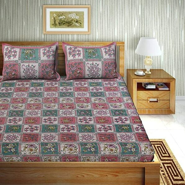 Traditional Sanganeri Floral Print Pink Color Box Shape King Size Double Bed Sheets