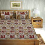 Traditional Sanganeri Floral Print Red Color Box Shape King Size Double Bed Sheets