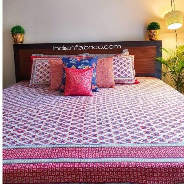 Traditional Sanganeri Peacock Print Design Double Bedsheet