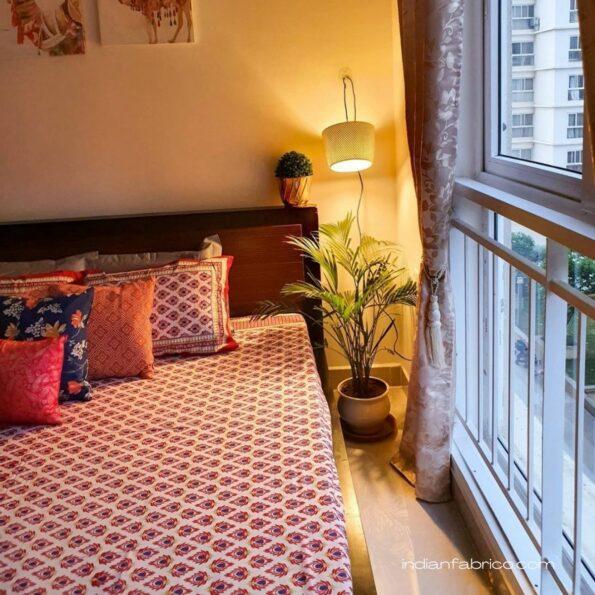 Traditional Sanganeri Peacock Print Design Double Bedsheets