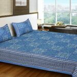 Traditional Sanganeri Print Blue Color MultiShape King Size Double Bed Sheet