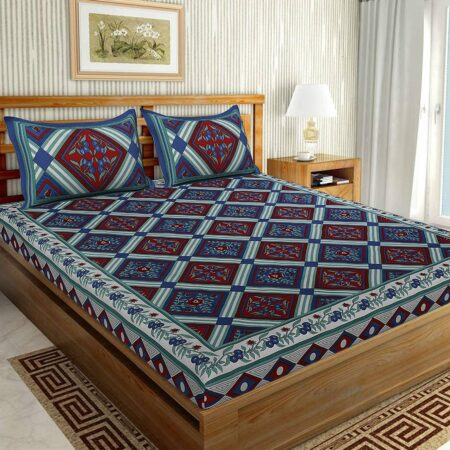 Traditional Sanganeri Print Blue color King Size Pure Cotton Double Bedsheet
