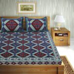 Traditional Sanganeri Print Blue color King Size Pure Cotton Double Bedsheets