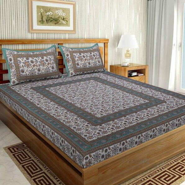 Traditional Sanganeri Print Brown Floral Design King Size Double Bed Sheet