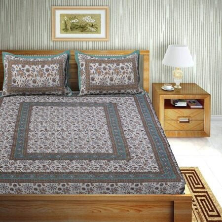 Traditional Sanganeri Print Brown Floral Design King Size Double Bed Sheets