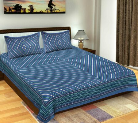 Traditional Geometric Blue Color Lining Print Double Bedsheet