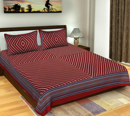Traditional Sanganeri Print Dark Red Color Pure Cotton Double Bedsheet