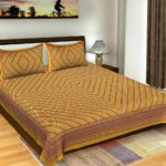 Traditional Sanganeri Print Dark Yellow Color Pure Cotton Double Bedsheet