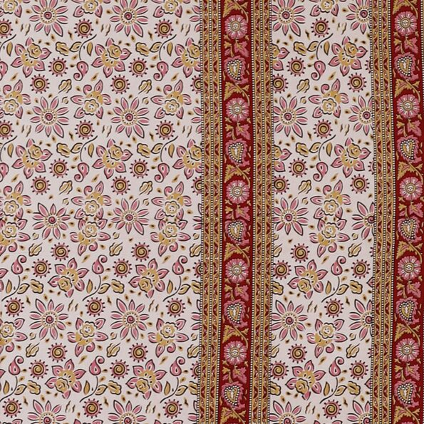 Traditional Sanganeri Print Floral Design King Size Double Bed Sheet Closeup